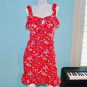 NWT NASTY GAL Red Floral Ruffle Mini Dress